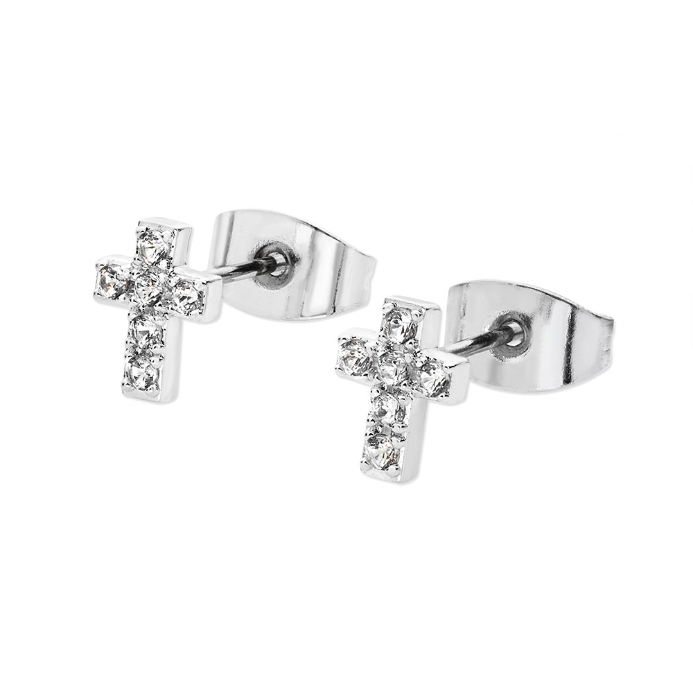 CZ Cross Stud Earrings Silver