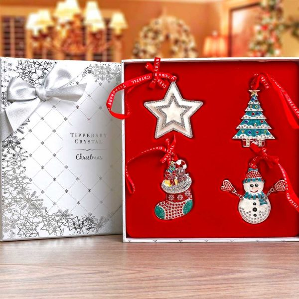 set of 4 sparkle decorations stocking tree star snowman by tipperary crystal duiske glass. Black Bedroom Furniture Sets. Home Design Ideas