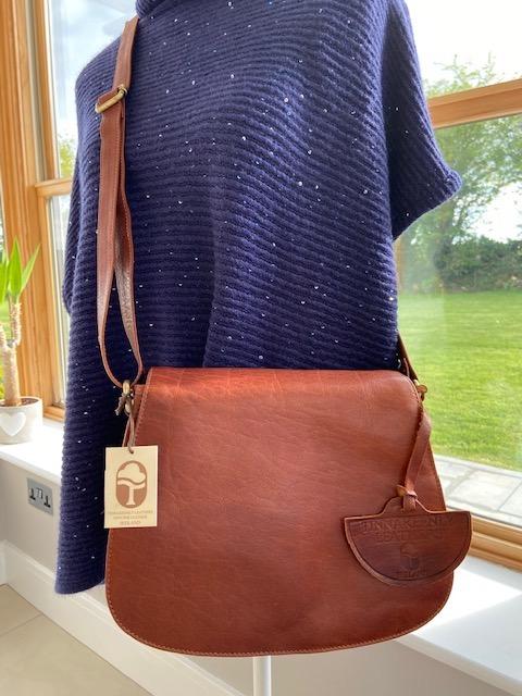 Tan 100% Leather Saddle Bag