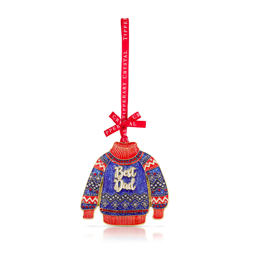 Best Dad Tipperary Crystal Christmas Decoration