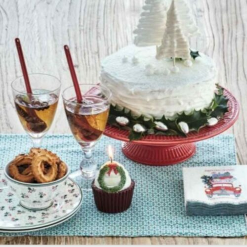 Footed Cake Stand Red