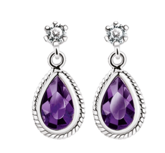 Earring with Purple Stone