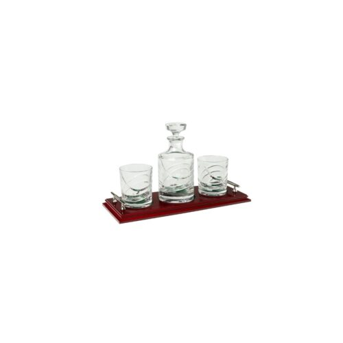 Duiske Crystal Decanter + 2 Glasses on Tray