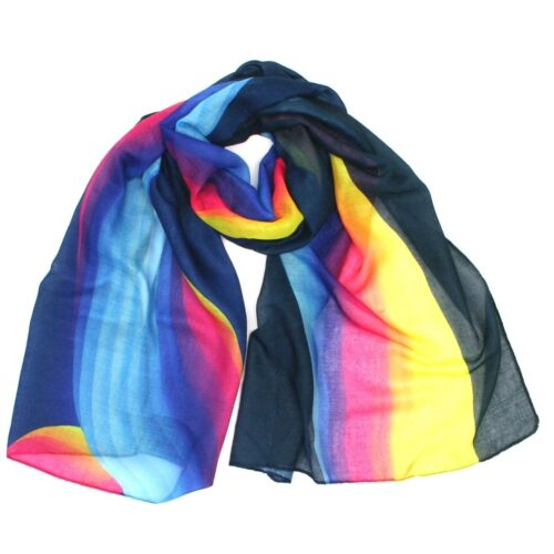 Ladies Navy Colourful Scarf
